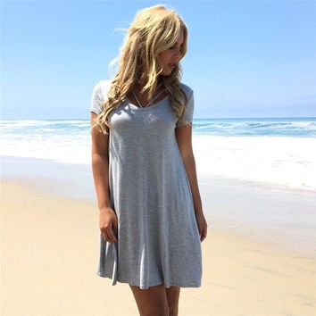 Plus Size Short Sleeve Casual One Piece Dress [11135560847]