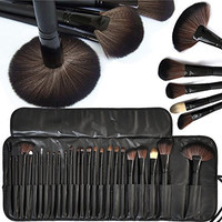 Moonight Professional Cosmetic Brush Set -24 Piece Makeup Brush Set with Premium Synthetic Hair,Pro Wooden Handle Cosmetic Makeup Brush kit set