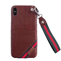 GUCCI New fashion stripe more letter print leather protective case phone case Brown
