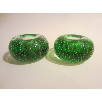 Green Glass Votive Candle Holders Controlled Bubbles