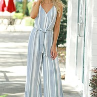 Vertical Striped Jumpsuit Black/ Denim