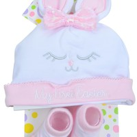 My First Easter Baby Infant Sequin Bunny Sock & Beanie Set for Girls