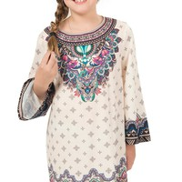 Flying Tomato Girls Cream with Mixed Print Long Sleeve Dress
