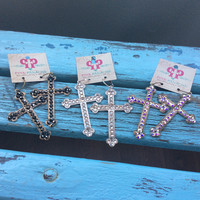 Pink Panache Cross Earrings