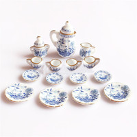 15 Dollhouse Miniature Dining Ware Blue Floral Ceramic Tea Set Pot Cup Plate