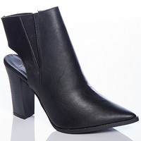 Bumper Posh Priorities Odin-01 Pointed Toe Cut Out Ankle Booties - Black