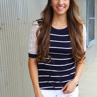 Riptide Striped Tee {Navy}