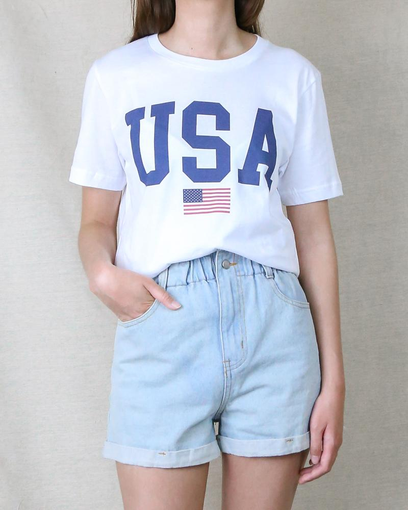 Image of Distracted - USA Shirt Unisex Graphic Tee in White