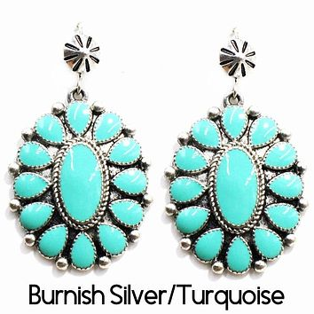 Squash Blossom Earring SILVER / TURQUOISE