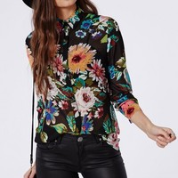 Missguided - Bright Floral Print Chiffon Slim Fit Shirt Black