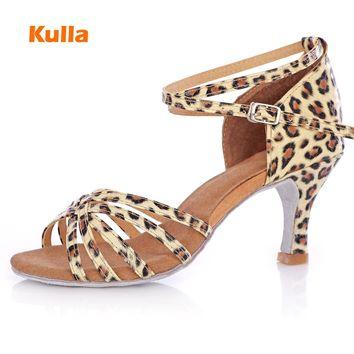 Leopard Satin Pu Latin Dance Shoes Woman Girls Salsa Ballroom Dancing Shoes Zapatos De Baile Latino Shoes Sandalias Mujer 2017