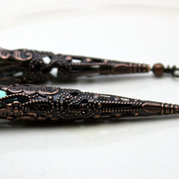 Earring Dangle, Pendant, Drop, Vintage Style Dramatic Peacock Green 8 Sided Crystal Teardrop with Filigree Copper Bead Cone Cap - 2 Pieces
