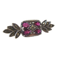 Vintage Amethyst Marcasite and Sterling Silver Pin Marked JC / Vintage Jewelry / Estate Jewelry