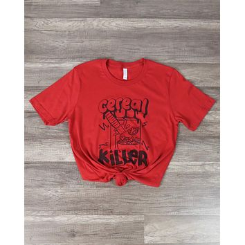 Distracted - Cereal Killer Witty Halloween Graphic Tee in Red