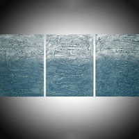 "ARTFINDER: extra large triptych 3 panel wall decor art impasto minimalist textured ""Turquoise Triptych  "" panel canvas wall abstract canvas pop abstraction 54 x 24 "" by Stuart Wright - triptych abstract painting decor, 3 piece canva..."