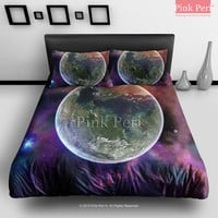 Earth on Outer Space Galaxy Background Bedding Sets Home Gift Home & Living Wedding Gifts Wedding Idea Twin Full Queen King Quilt Cover Duvet Cover Flat Sheet Pillowcase Pillow Cover 056