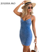 New Womens Jeans Dress 2016 Summer  Backless Zipper Mini Bodycon Short Vintage Denim Sexy Club Bandage Party Dresses Vestidos