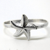 Sterling Silver Starfish Ring, Handcrafted Silver Ring, Sea Ring, Nautical Jewelry