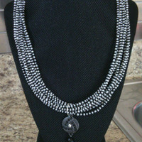 Black and White Multi-strand Seed Bead Necklace with Silver Tassel Charm - Elegant Look