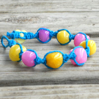 Pink Yellow and Blue Hemp Bracelet Bubblegum - Size 7 inch - Handmade Macrame Jewelry for Teen Girls