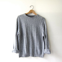 vintage speckled gray sweater. oversized sweater. chunky pullover.