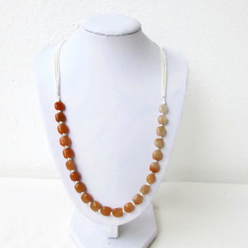 Carnelian necklace, bead and chain necklace, semi precious gemstone necklace, orange gemstone necklace, Jewelry gift, Handmade in the UK