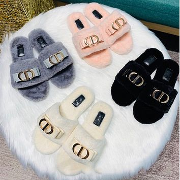 Dior hairy shoes women's flip flops new fashion, comfortable, soft and warm bowknot flat shoes