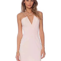 Pink Plunging V-Neckline Mini Dress