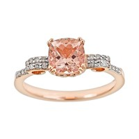 14k Rose Gold Over Sterling Silver .11-ct. T.W. Diamond & Morganite Ring