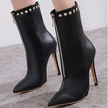 Explosive hot sale fashion rivet high heel nude boots shoes