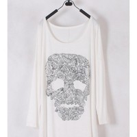 Women Euro Style Long Sleeve Bat-wing Sleeve Skeleton Picture White Cotton T-shirt One Size @WH0181w $11.99 only in eFexcity.com.