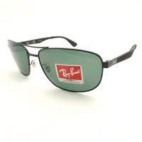 Ray Ban RB 3528 006/71 Matte Black Green New Sunglasses Authentic