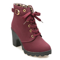 Leopard Lining Ankle Boots With Lace-Up and Buckle Design