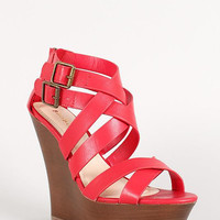 Bamboo Cross Strap Double Buckle Open Toe Wedge Color: Red, Size: 6
