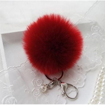 BEADY FUR POM BALLS KEYCHAIN or BAG CHARM - DEEP RED