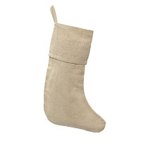 Natural Plain Linen Christmas Stockings, 16-inch, 6-Piece