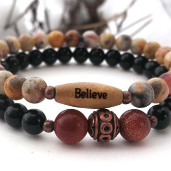 CHOOSE YOUR WORD Believe Bracelet with Onyx, Goldstone and Agate Bracelet