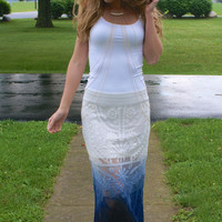 Lacy Waves Maxi Skirt: Cream & Navy Blue