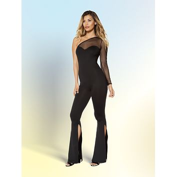 Women's Single Sleeve Sheer Jumpsuit