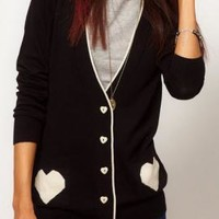 Game of Love Knit Cardigan with Heart Print Pockets in Black | Sincerely Sweet Boutique