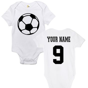 Baby Bodysuit - Custom Personalized Soccer Ball With Your Name and Number on Back