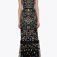FLOWERBED EMBROIDERY MAXI DRESS