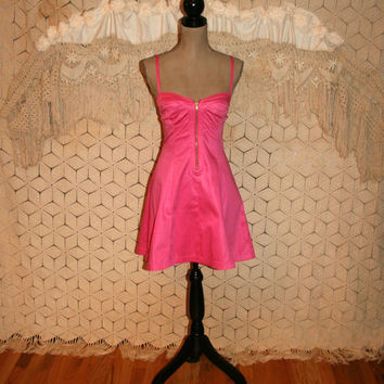 Hot Pink Party Dress Sexy Dress Fit & Flare Dress Summer Dress Bustier Sundress French Connection Size 2 Size 4 XS Small Womens Clothing