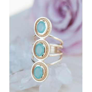 Ashley Ring * Aqua Chalcedony * Gold Plated 18k * BJR091