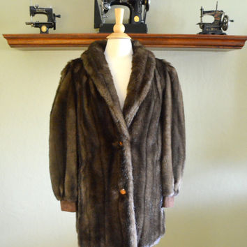 Vintage Faux Fur Coat, Dark Brown with Suede Trim, Made in England by Adolph Schuman for Lilli Ann, circa 1970s