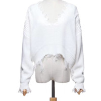 Early autumn new loose style front and back two wear v-neck fringe long-sleeve sweater sweater sweater sweater sweater sweater sweater