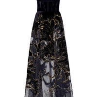 Tulle and Velvet Embroidered Gown | Moda Operandi