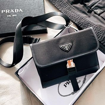 PRADA New Hot Sale Women Men Nylon Crossbody Satchel Shoulder Bag Mobile Phone Bag