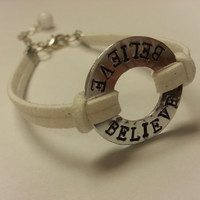 BELIEVE - Washer Bracelet, Handstamped Affirmation Ring, Faux Suede Bracelet feat. Wire Wrapped Bead Dangle