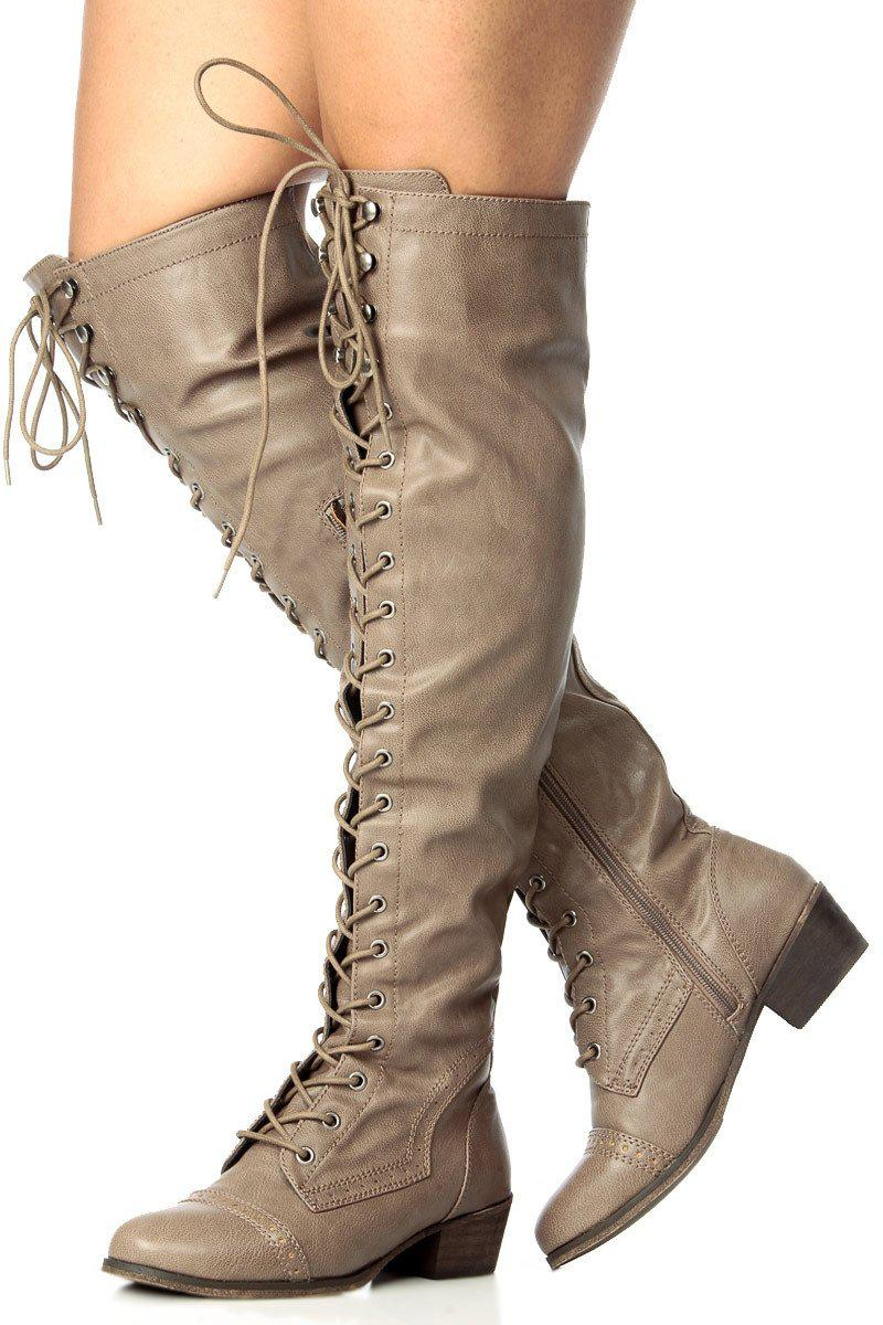 Image of Lace Up Military Over the Knee High Boots Vegan Faux Leather